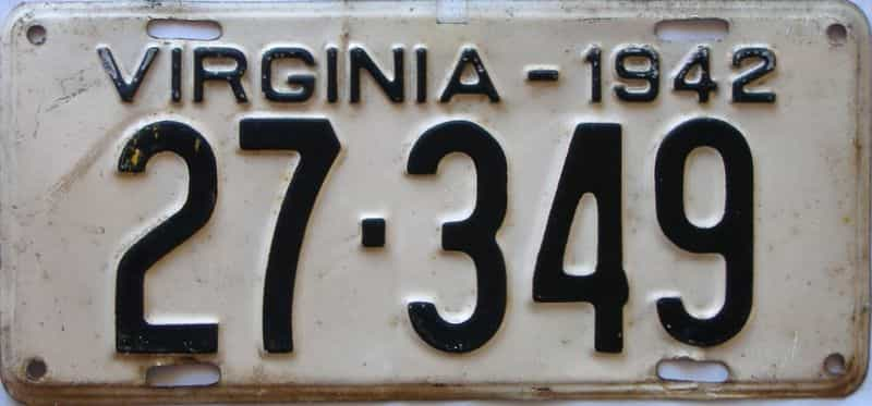 1942 Virginia  (Single) license plate for sale