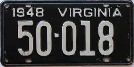 1948 Virginia  (Single) license plate for sale