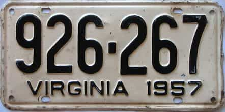 1957 Virginia (Single) license plate for sale