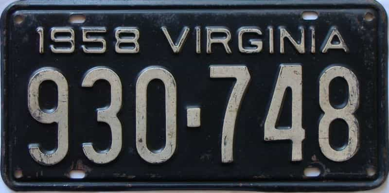 1958 Virginia  (Single) license plate for sale