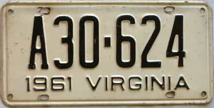 1961 Virginia  (Single) license plate for sale