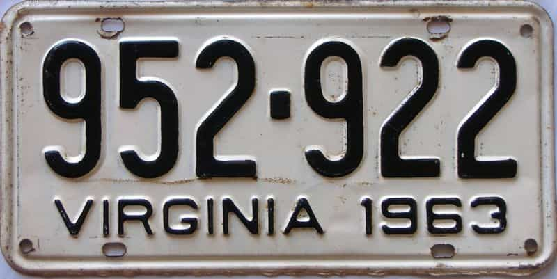 1963 Virginia  (Single) license plate for sale