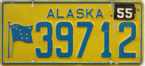 1955 Alaska  (Single) license plate for sale