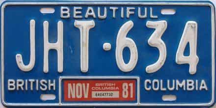 1981 British Columbia  (Single) license plate for sale