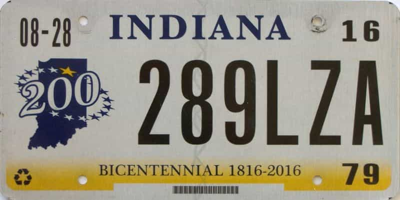 2016 Indiana license plate for sale