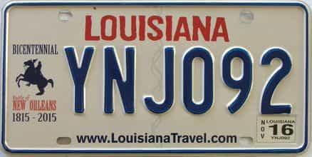 2016 Louisiana license plate for sale
