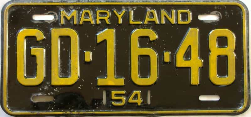 1954 Maryland license plate for sale