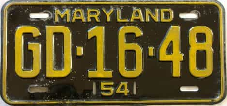 1954 Maryland  (Single) license plate for sale