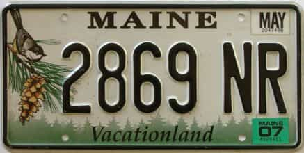 2007 Maine (Single) license plate for sale
