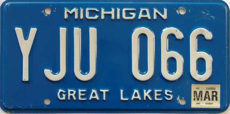 2005 Michigan license plate for sale