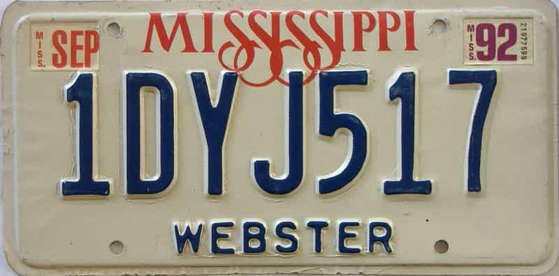 1992 Mississippi license plate for sale