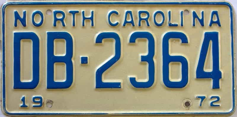 1972 North Carolina license plate for sale