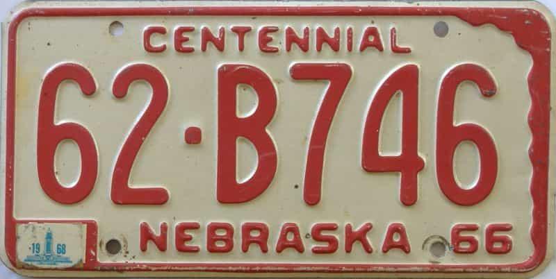 1968 Nebraska  (Single) license plate for sale