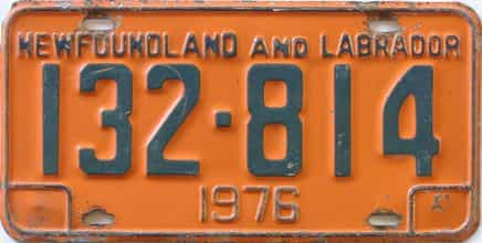1976 Newfoundland  (Single) license plate for sale