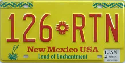 2014 New Mexico license plate for sale