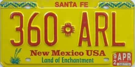 1992 New Mexico license plate for sale