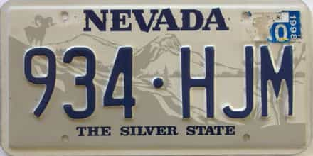 1998 Nevada (Single) license plate for sale