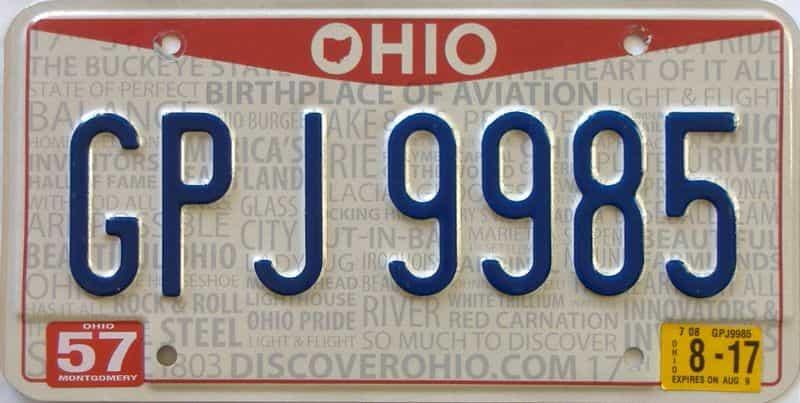 2017 Ohio  (Single) license plate for sale