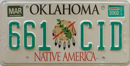 2002 Oklahoma license plate for sale
