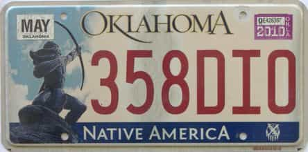 2010 Oklahoma license plate for sale