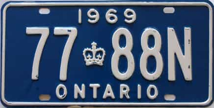 1969 Ontario (Single) license plate for sale