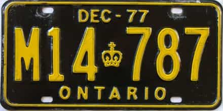 1977 Ontario (Single) license plate for sale