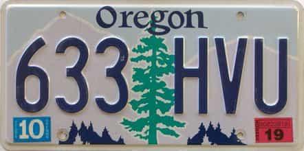 2019 Oregon (Single) license plate for sale