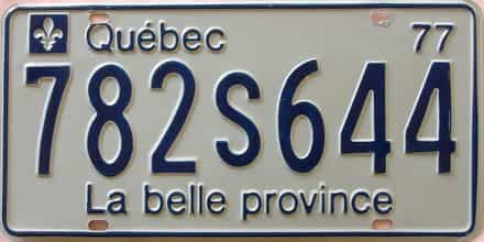 1977 Quebec (Single) license plate for sale