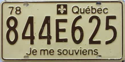1978 Quebec  (Single) license plate for sale