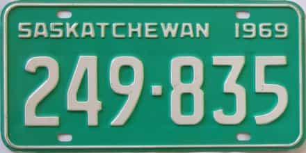 1969 Saskatchewan (Single) license plate for sale
