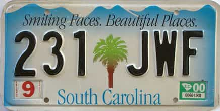 2000 South Carolina license plate for sale