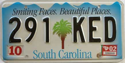2002 South Carolina license plate for sale