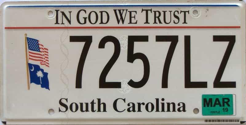 2019 South Carolina license plate for sale
