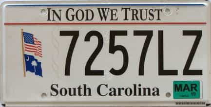 2019 South Carolina license plate for sale