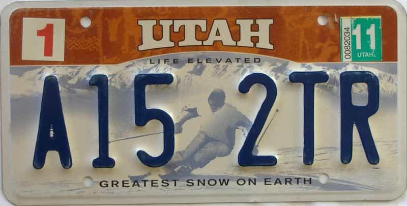 2011 Utah  (Single) license plate for sale