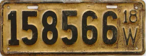 1918 Wisconsin (Single) license plate for sale