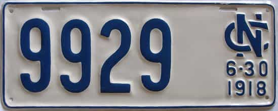 1918 North Carolina (Older Restoration) license plate for sale