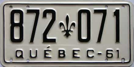 1961 Quebec  (Single) license plate for sale