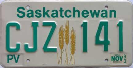1993 Saskatchewan (Single) license plate for sale
