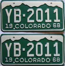 1968 Colorado  (Pair) license plate for sale