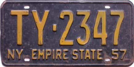 1957 New York  (Single) license plate for sale