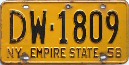 1958 New York  (Single) license plate for sale
