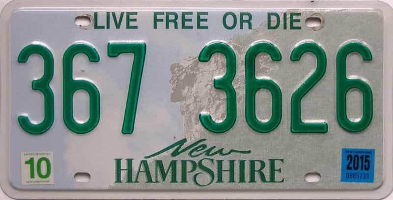 2015 New Hampshire  (Single) license plate for sale