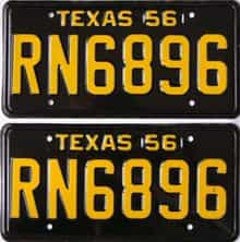 1956 Texas  (Pair) license plate for sale