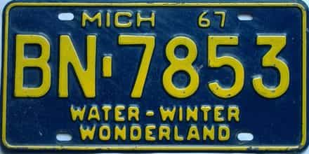 1967 Michigan  (Single) license plate for sale