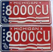 1976 Michigan  (Pair) license plate for sale