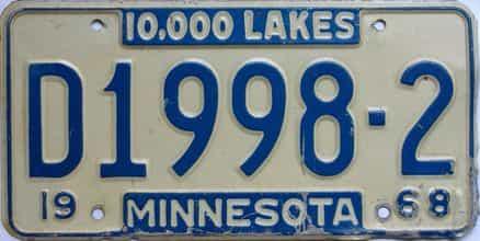 1968 Minnesota  (Dealer) license plate for sale