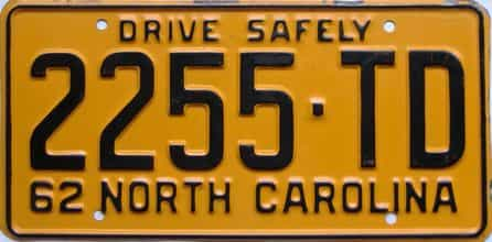 1962 North Carolina (Truck) license plate for sale
