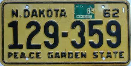1964 North Dakota (Single) license plate for sale