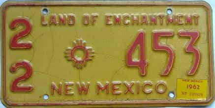 1962 New Mexico license plate for sale
